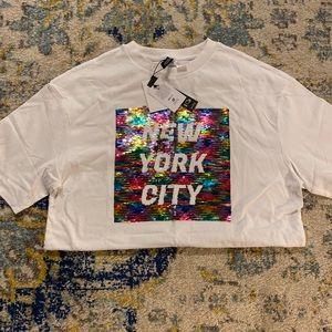 H&M Sequined 'New York City' T-Shirt Dress